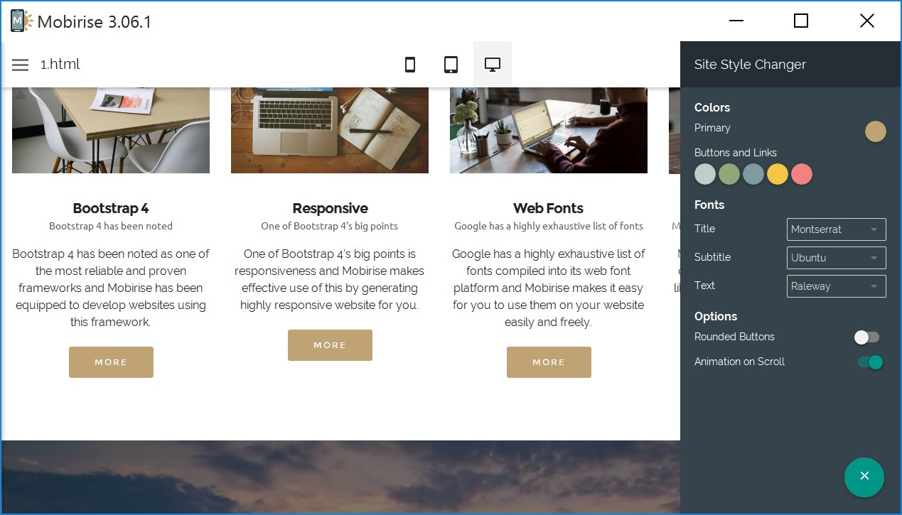Drag and Drop Responsive Web Page Creator Software