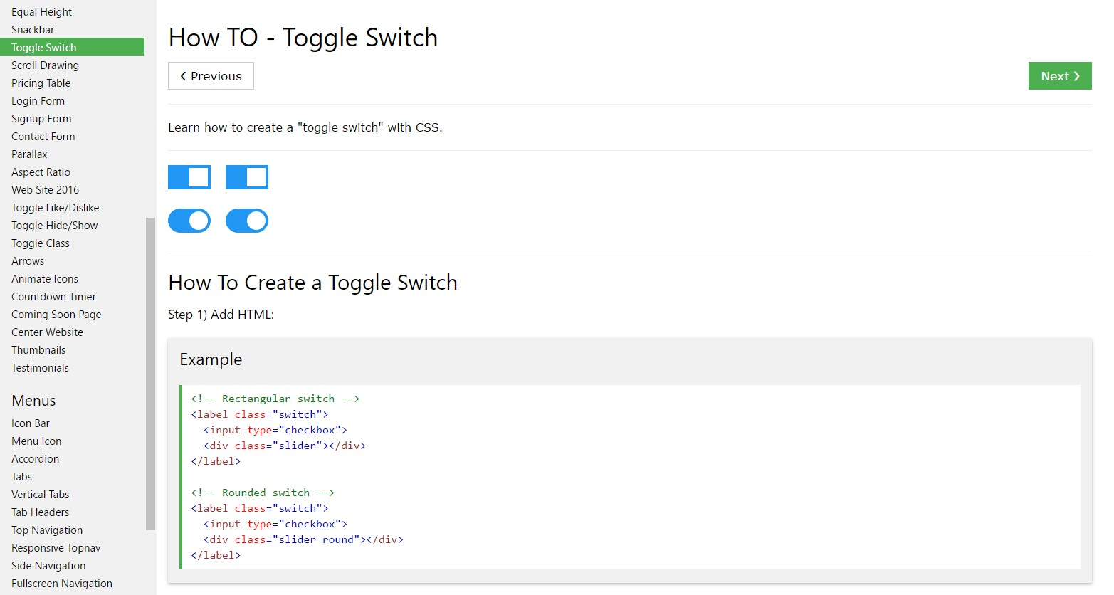 Exactly how to  set up Toggle Switch